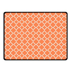 Tangerine Orange Quatrefoil Pattern Fleece Blanket (small)