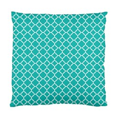 Turquoise Quatrefoil Pattern Standard Cushion Case (two Sides)