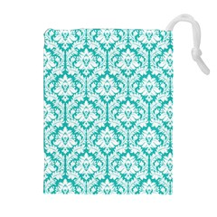 Turquoise Damask Pattern Drawstring Pouches (extra Large)