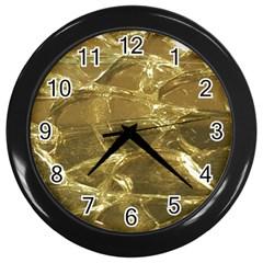 Gold Bar Golden Chic Festive Sparkling Gold  Wall Clocks (Black)