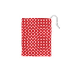 Poppy Red Quatrefoil Pattern Drawstring Pouch (XS)