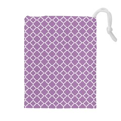 Lilac purple quatrefoil pattern Drawstring Pouch (XL)