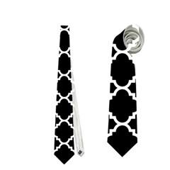 Black & White Quatrefoil Pattern Necktie (two Side)