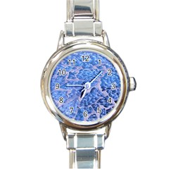 Festive Chic Light Blue Glitter Shiny Glamour Sparkles Round Italian Charm Watch