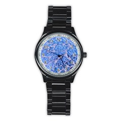 Festive Chic Light Blue Glitter Shiny Glamour Sparkles Stainless Steel Round Watch