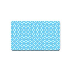 Bright Blue Quatrefoil Pattern Magnet (name Card)