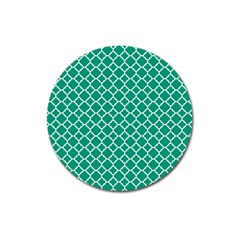 Emerald Green Quatrefoil Pattern Magnet 3  (round)