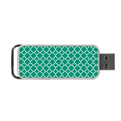 Emerald Green Quatrefoil Pattern Portable Usb Flash (one Side)