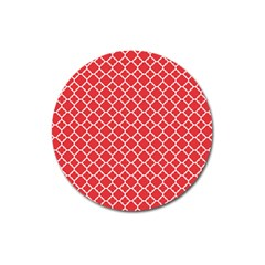 Poppy Red Quatrefoil Pattern Magnet 3  (round)
