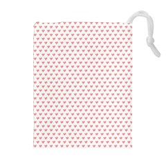 Soft Pink Small Hearts Pattern Drawstring Pouches (Extra Large)