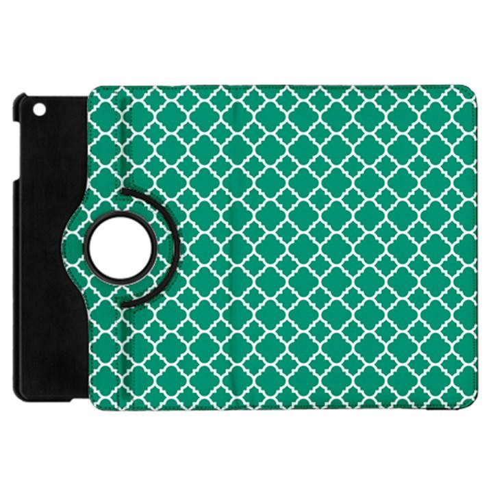 Emerald green quatrefoil pattern Apple iPad Mini Flip 360 Case