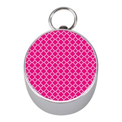Hot Pink Quatrefoil Pattern Silver Compass (mini)