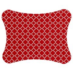 Poppy red quatrefoil pattern Jigsaw Puzzle Photo Stand (Bow)