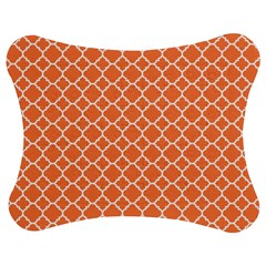 Tangerine Orange Quatrefoil Pattern Jigsaw Puzzle Photo Stand (bow)