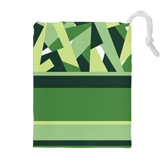 Abstract Jungle Green Brown Geometric Art Drawstring Pouches (extra Large)