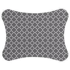 Grey quatrefoil pattern Jigsaw Puzzle Photo Stand (Bow)