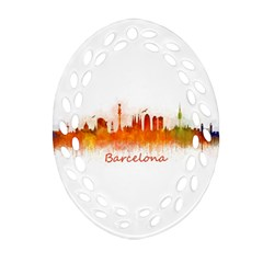 Barcelona City Art Oval Filigree Ornament (2 Side)