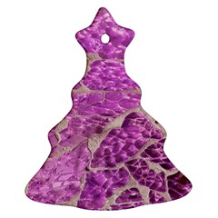 Festive Chic Pink Glitter Stone Christmas Tree Ornament (2 Sides)