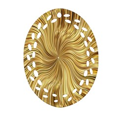 Chic Festive Elegant Gold Stripes Ornament (Oval Filigree)