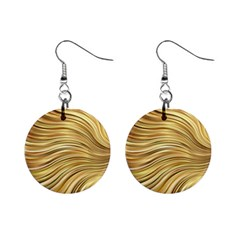 Chic Festive Gold Brown Glitter Stripes Mini Button Earrings