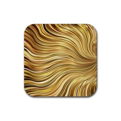 Chic Festive Gold Brown Glitter Stripes Rubber Square Coaster (4 pack)