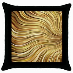 Chic Festive Gold Brown Glitter Stripes Throw Pillow Case (Black)