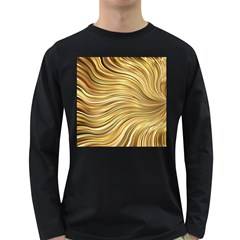Chic Festive Gold Brown Glitter Stripes Long Sleeve Dark T-Shirts
