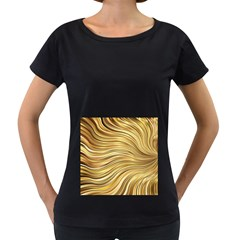 Chic Festive Gold Brown Glitter Stripes Women s Loose-Fit T-Shirt (Black)