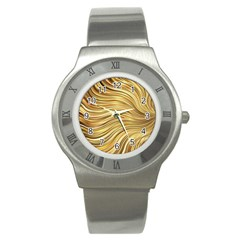 Chic Festive Gold Brown Glitter Stripes Stainless Steel Watch