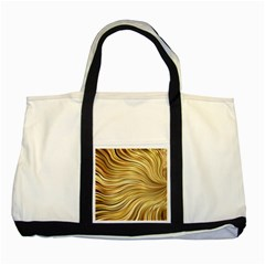 Chic Festive Gold Brown Glitter Stripes Two Tone Tote Bag