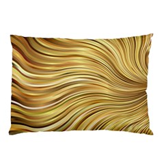 Chic Festive Gold Brown Glitter Stripes Pillow Case (Two Sides)