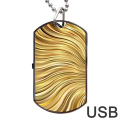 Chic Festive Gold Brown Glitter Stripes Dog Tag USB Flash (Two Sides)