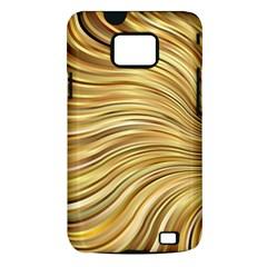 Chic Festive Gold Brown Glitter Stripes Samsung Galaxy S II i9100 Hardshell Case (PC+Silicone)