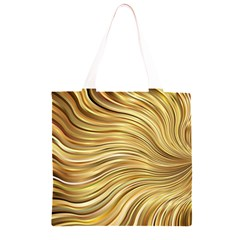 Chic Festive Gold Brown Glitter Stripes Grocery Light Tote Bag