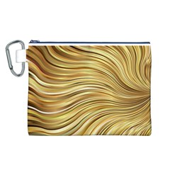 Chic Festive Gold Brown Glitter Stripes Canvas Cosmetic Bag (L)