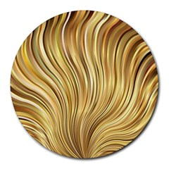 Gold Stripes Festive Flowing Flame  Round Mousepads