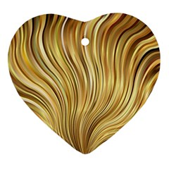 Gold Stripes Festive Flowing Flame  Ornament (Heart)