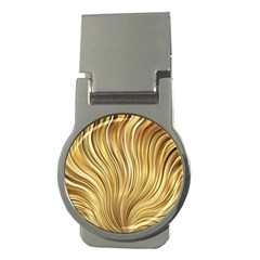 Gold Stripes Festive Flowing Flame  Money Clips (Round)