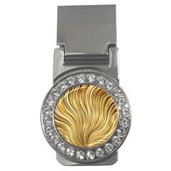 Gold Stripes Festive Flowing Flame  Money Clips (CZ)