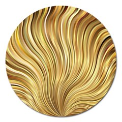 Gold Stripes Festive Flowing Flame  Magnet 5  (Round)