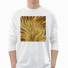 Gold Stripes Festive Flowing Flame  White Long Sleeve T-Shirts