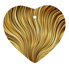 Gold Stripes Festive Flowing Flame  Heart Ornament (2 Sides)