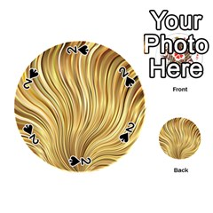 Gold Stripes Festive Flowing Flame  Playing Cards 54 (round)