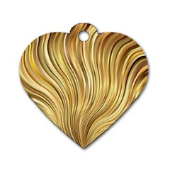 Gold Stripes Festive Flowing Flame  Dog Tag Heart (One Side)