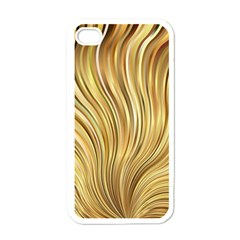 Gold Stripes Festive Flowing Flame  Apple iPhone 4 Case (White)