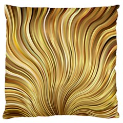 Gold Stripes Festive Flowing Flame  Large Flano Cushion Case (Two Sides)