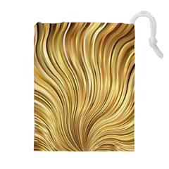 Gold Stripes Festive Flowing Flame  Drawstring Pouches (Extra Large)