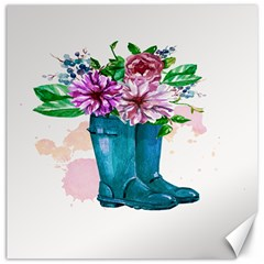 Cute Watercolor Boots With Flowers  Canvas 16  x 16