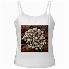 Tropical Sea Shells Collection, Copper Background White Spaghetti Tank