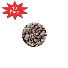 Tropical Sea Shells Collection, Copper Background 1  Mini Buttons (10 pack)